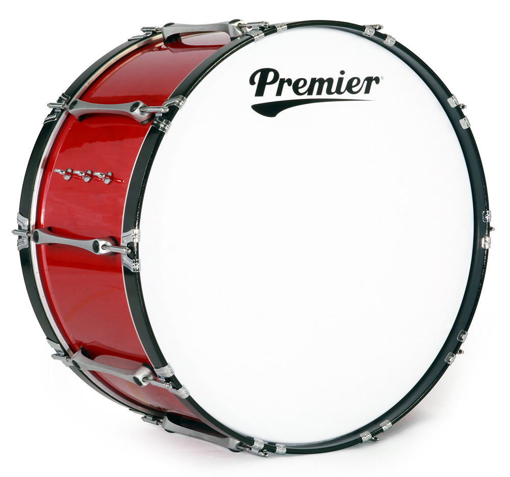 Revolution Series Pipe Band Bass Drum In Flame Red Lacquer